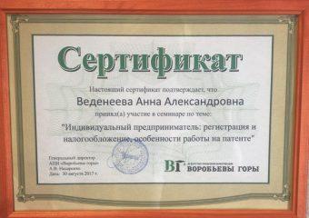 """Сертификат: """"ИП: Регистрация и налогообложение, особенности работы на патенте"""""""